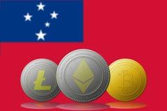 3D例证与萨摩亚旗子的Litecoin Ethereum Bitcoin cryptocurrency在背景 图库摄影