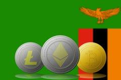 3D例证与赞比亚旗子的Litecoin Ethereum Bitcoin cryptocurrency在背景 库存图片