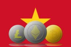 3D例证与越南旗子的Litecoin Ethereum Bitcoin cryptocurrency在背景 图库摄影