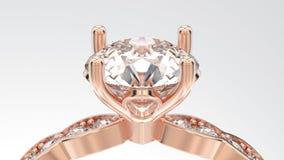 3D例证与金刚石的被隔绝的徒升宏指令玫瑰色金戒指 免版税库存照片
