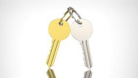 3D例证与keychain的金子和银钥匙 免版税库存图片
