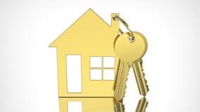 3D例证与keychain的金子钥匙以小的形式ho 免版税库存照片