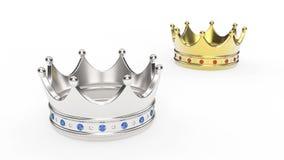 3D例证两与金刚石的金和冠冠状头饰 库存图片