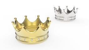 3D例证两与金刚石的金和冠冠状头饰 免版税库存照片