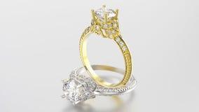 3D例证两与金刚石的金和银圆环 免版税库存图片
