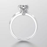 3D例证人造白金或银色传统单粒宝石engag 库存例证