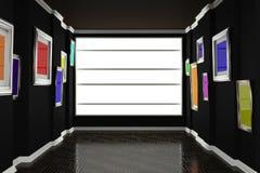 3d例证内部 柱基木条地板和两参差不齐的墙壁吊五颜六色的绘画 库存图片