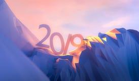 3d例证即将来临的2019新年概念 免版税库存图片