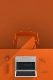 3d例证图象办公室工作场所 与办公用品膝上型计算机和咖啡C的表 免版税库存图片