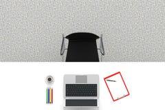 3d例证图象办公室工作场所 与办公用品膝上型计算机和咖啡C的表 免版税库存照片