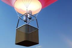 3D例证在天空背景的热空气气球 在天空的白色,红色,蓝色,绿色和黄色空气轻快优雅flyes 免版税库存图片
