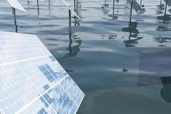 3D例证太阳电池板 太阳电池板由星期日导致绿色,不伤环境的能源 概念能量 免版税图库摄影