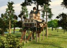 3D例证小屋样式树上小屋 免版税库存照片