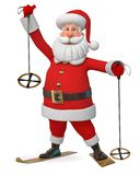 3d例证快乐的圣诞老人滑雪 库存例证