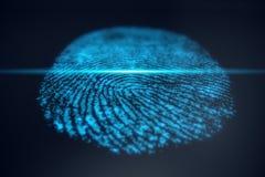 3D例证指纹扫描提供安全通入以生物测定学证明 概念指纹保护 免版税图库摄影