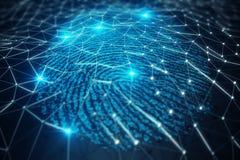 3D例证指纹扫描提供安全通入以生物测定学证明 概念指纹保护 图库摄影