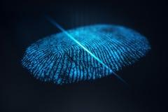 3D例证指纹扫描提供安全通入以生物测定学证明 概念指纹保护 库存例证