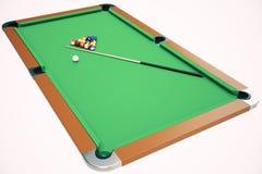 3D例证撞球在一个绿色撞球台,水池台球比赛,台球概念里 免版税图库摄影