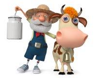 3d例证有母牛的农夫 库存照片