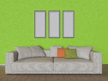 3D例证有米黄沙发的墙壁 免版税库存图片