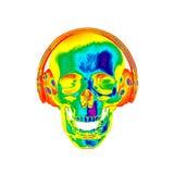 3D例证有耳机的摘要头骨 库存图片