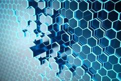 3D例证未来派表面六角形样式摘要蓝色与光线的 蓝色色彩六角背景 库存照片