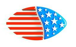 3D例证橄榄球美国商标 免版税图库摄影