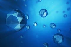3D例证混乱低多球形摘要背景  在多灰尘的空间的微粒 背景蓝色未来派 免版税图库摄影
