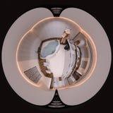 3d例证球状360程度无缝的卫生间全景 库存图片