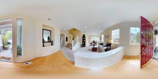 3d例证球状360程度,家庭内部无缝的全景  免版税库存图片