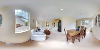 3d例证球状360程度,家庭内部无缝的全景  库存图片