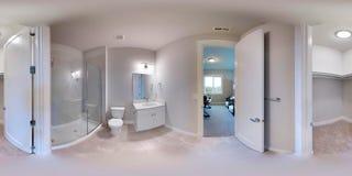 3d例证球状360程度,房子的无缝的全景 库存例证
