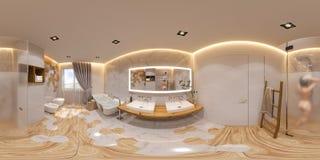 3d例证球状360程度,无缝的全景卫生间室内设计 向量例证