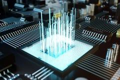 3D例证电路板 背景二进制代码地球电话行星技术 中央计算机处理器CPU概念 主板数字式芯片 免版税图库摄影