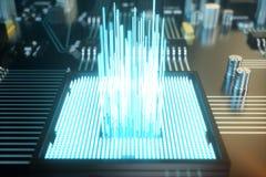 3D例证电路板 背景二进制代码地球电话行星技术 中央计算机处理器CPU概念 主板数字式芯片 图库摄影