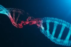 3D例证病毒脱氧核糖核酸分子,结构 概念被毁坏的代码人类基因组 损伤脱氧核糖核酸分子 ?? 库存例证
