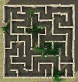 3D例证石头迷宫难题 免版税库存照片