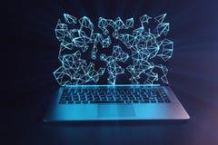 3D例证膝上型计算机 在黑暗的背景的膝上型计算机膝上型计算机 当膝上型计算机屏幕全息图,连接指向与线 库存照片