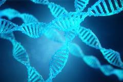 3D例证螺旋与修改过的基因的脱氧核糖核酸分子 改正由遗传工程的变化 分子的概念 库存例证