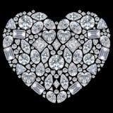 3D例证被隔绝的金刚石心脏 库存照片