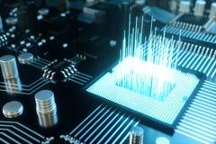 3D例证计算机芯片,在电路板的一个处理器 数据传送的概念到云彩 库存照片