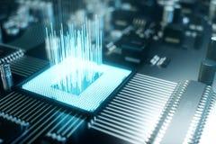 3D例证计算机芯片,在电路板的一个处理器 数据传送的概念到云彩 免版税库存照片