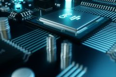 3D例证计算机芯片,在电路板的一个处理器 数据传送的概念到云彩 库存图片