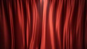 3D例证豪华红色丝绸天鹅绒帷幕装饰设计,想法 剧院或歌剧场面的红色阶段帷幕 免版税库存图片