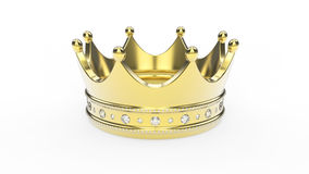 3D例证金与金刚石的冠冠状头饰 免版税图库摄影