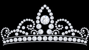 3D例证金刚石与珍贵闪烁的冠冠状头饰 图库摄影