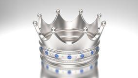 3D例证金银与金刚石的冠冠状头饰 免版税库存图片