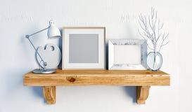 3d例证,内部与凳子、帆布和坐垫 免版税库存照片