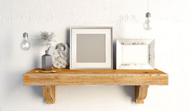 3d例证,内部与凳子、帆布和坐垫 库存图片
