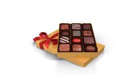 3D例证:一箱巧克力-节日礼物 免版税库存照片